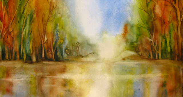 Aquarell Landschaft: Herbst
