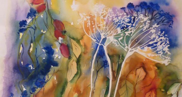 Aquarell Blumen: Herbststimmung….