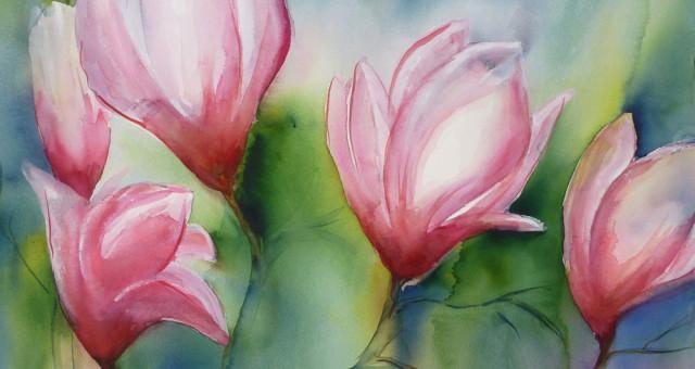 Blumenaquarell: Magnolien