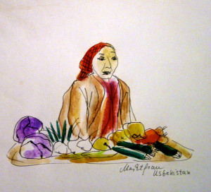 Markttag - Marktfrau in Usbekistan