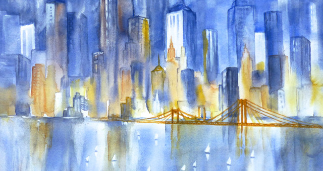Aquarell Städte: New York….