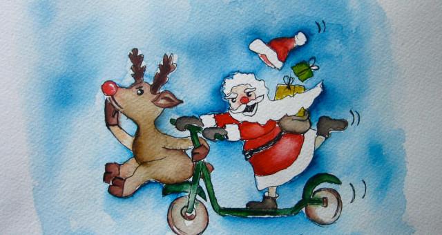 Aquarell Nikolaus: Stellt schnell den Stiefel raus…