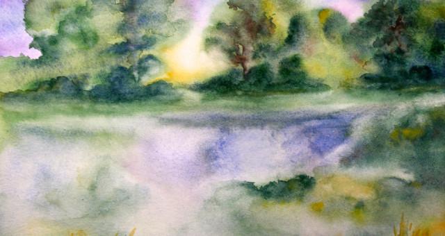 Aquarell Landschaft: Wasserlandschaften….