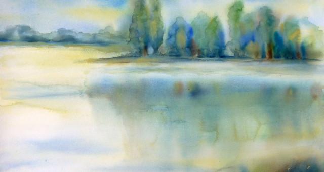 Aquarell Landschaft: Wasserlandschaft…..